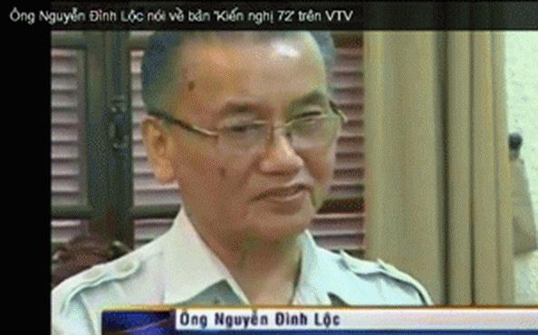 Ông Nguyễn Đình Lộc nói về bản 'Kiến nghị 72' trên VTV. Hình chụp từ youtube