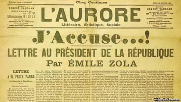 Thư ngỏ 'Tôi kết tội' của nhà báo Emile Zola gửi Tổng thống Félix Faure